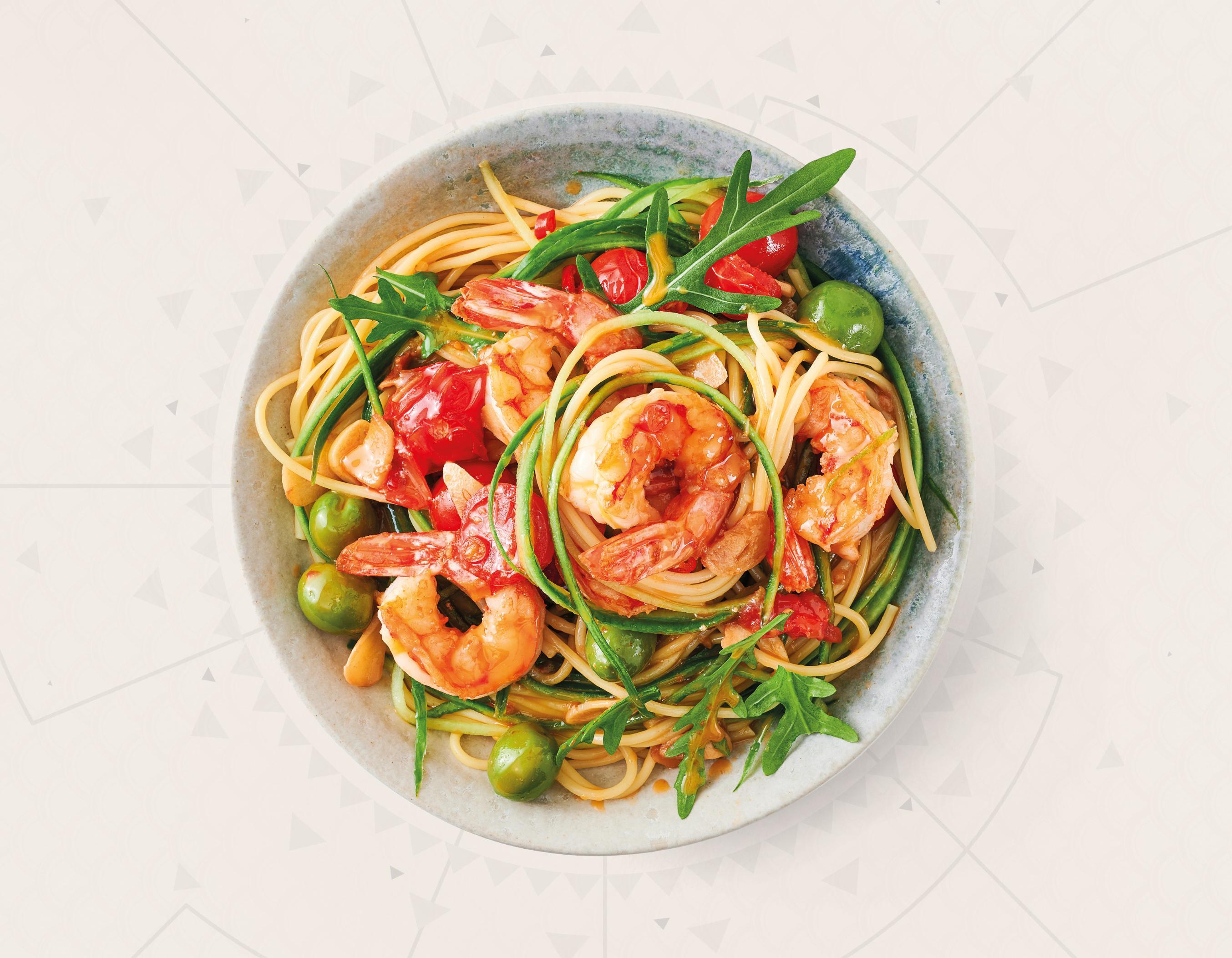 Rotgarnele Aglio e Olio mit Gurken-Spaghetti