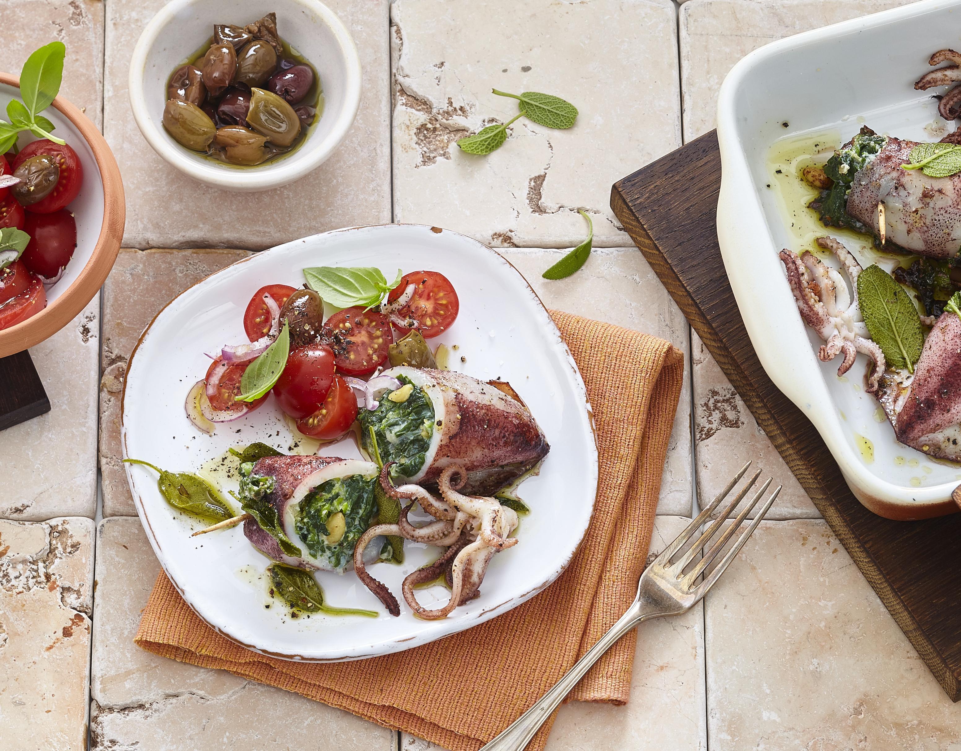 Gefüllte Calamares mit Spinat & Ricotta