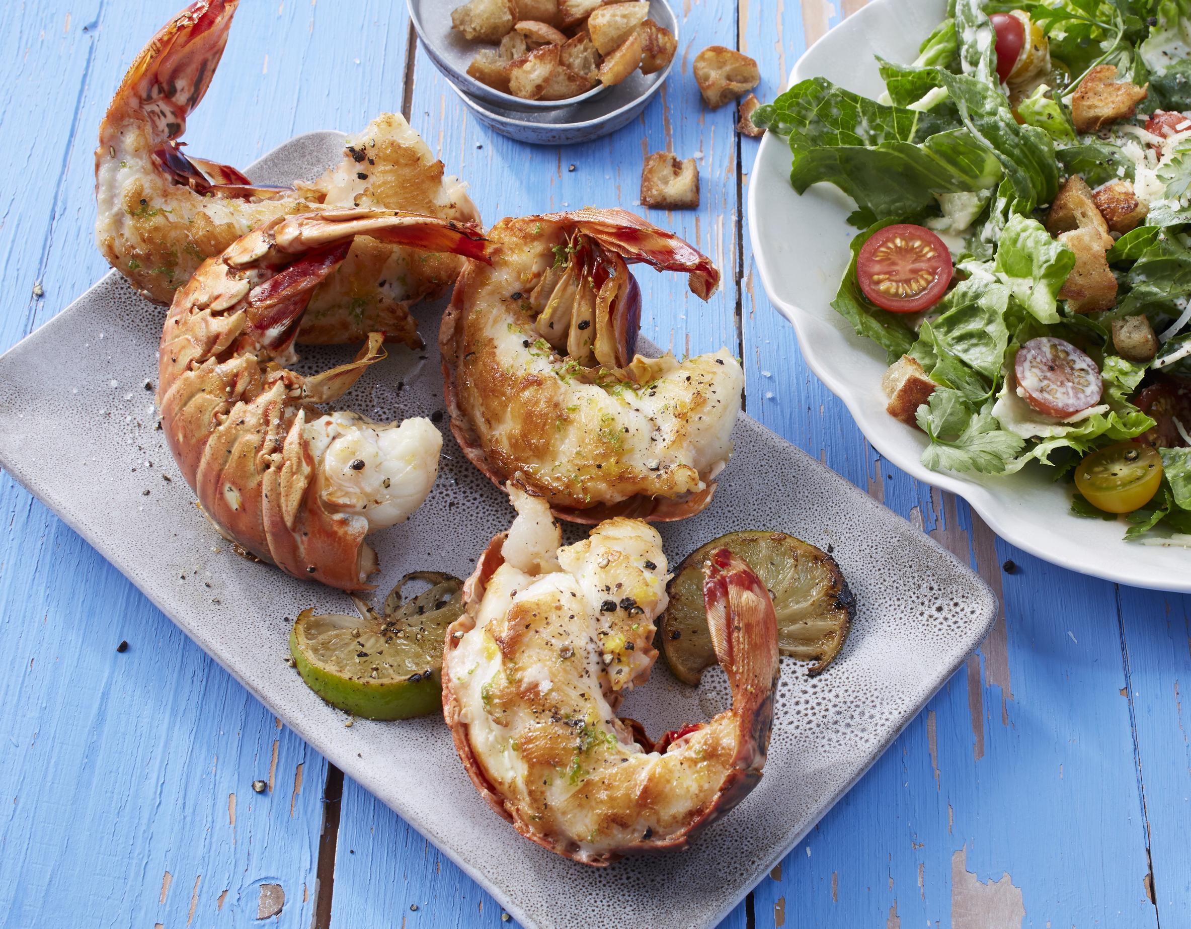 Languste vom Grill mit Caesar Salad