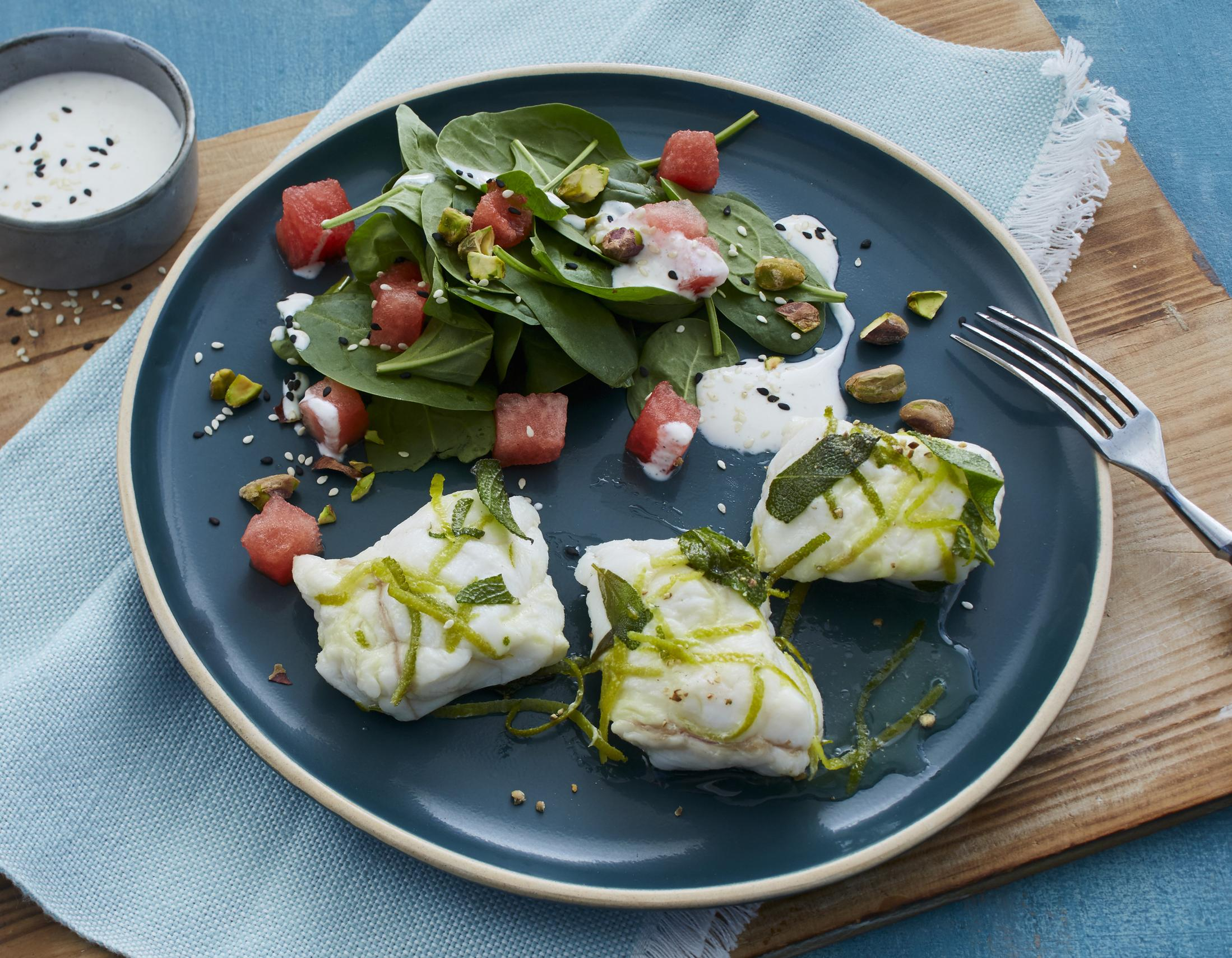 Seeteufel Sous-vide mit Spinat-Melonen-Salat