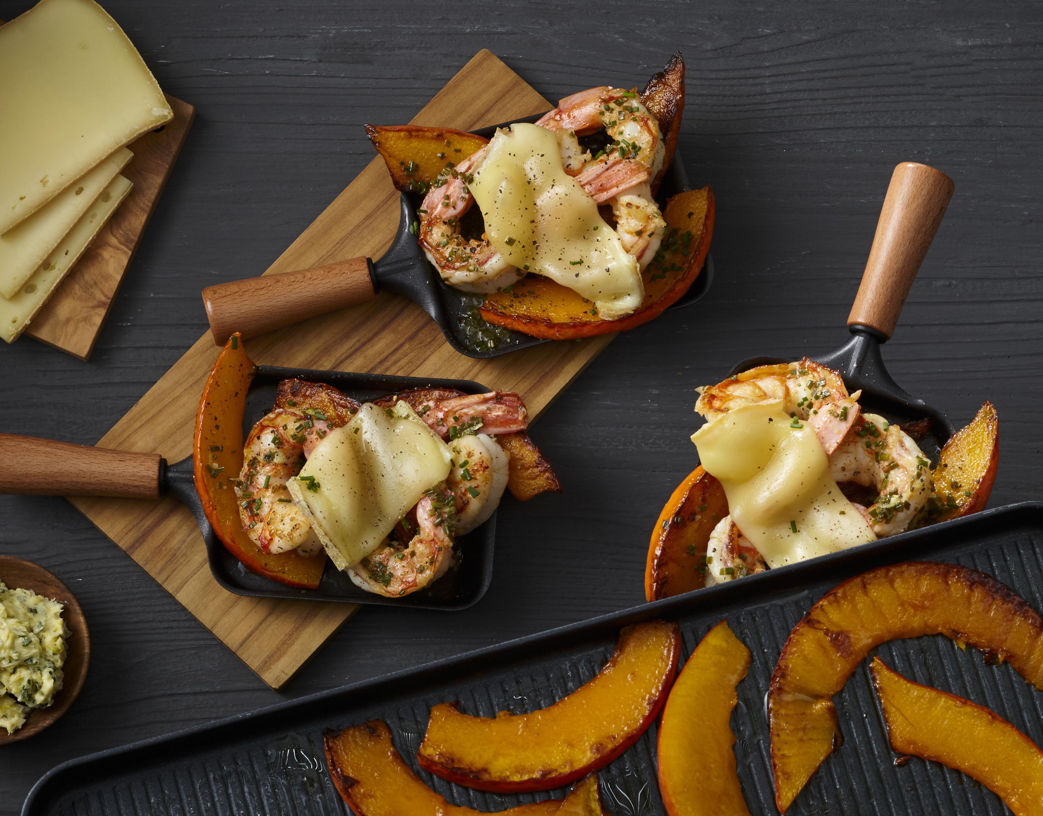 Garnelen & Kürbis aus dem Raclette