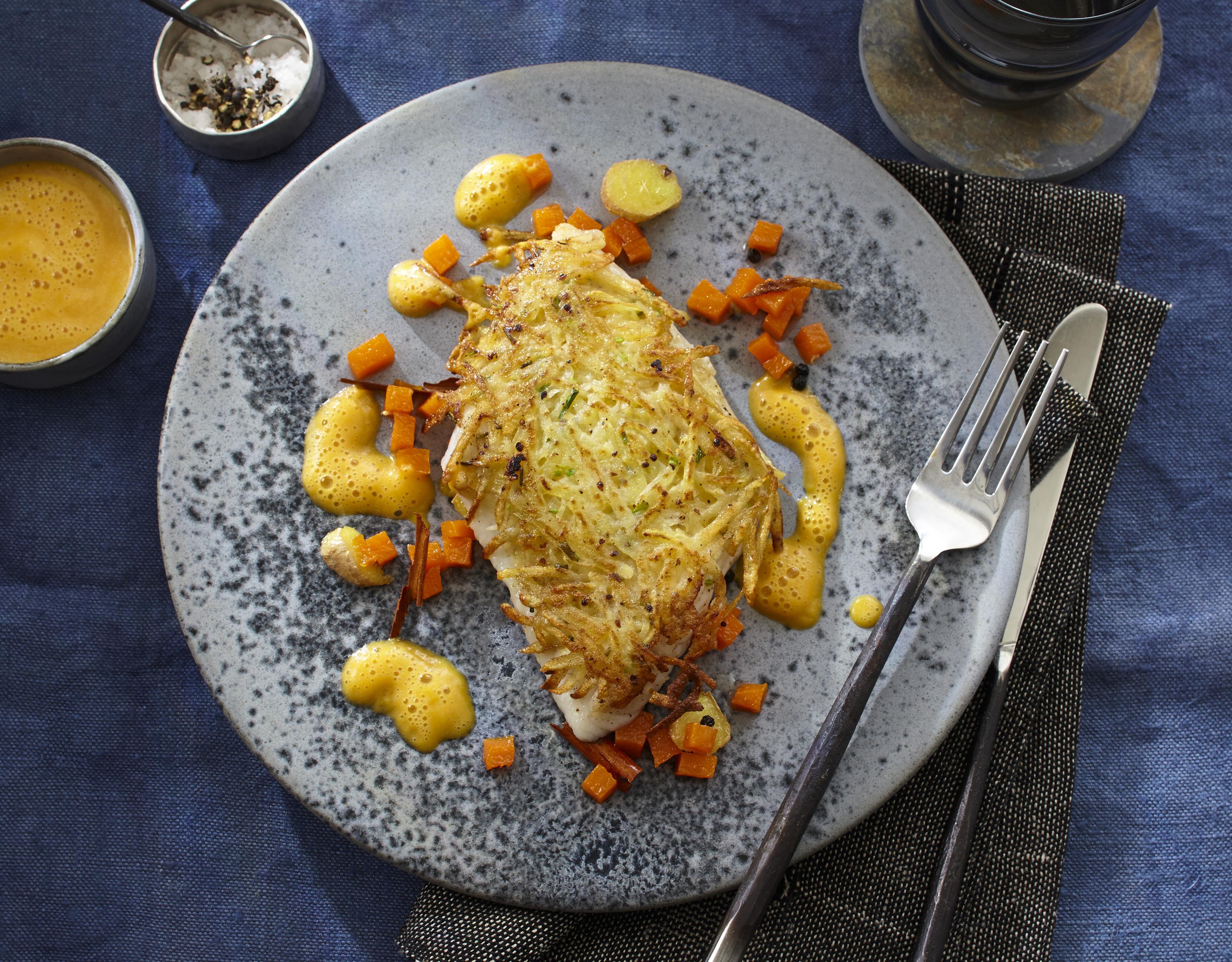Seelachs mit Kartoffelkruste & Muskatkürbis