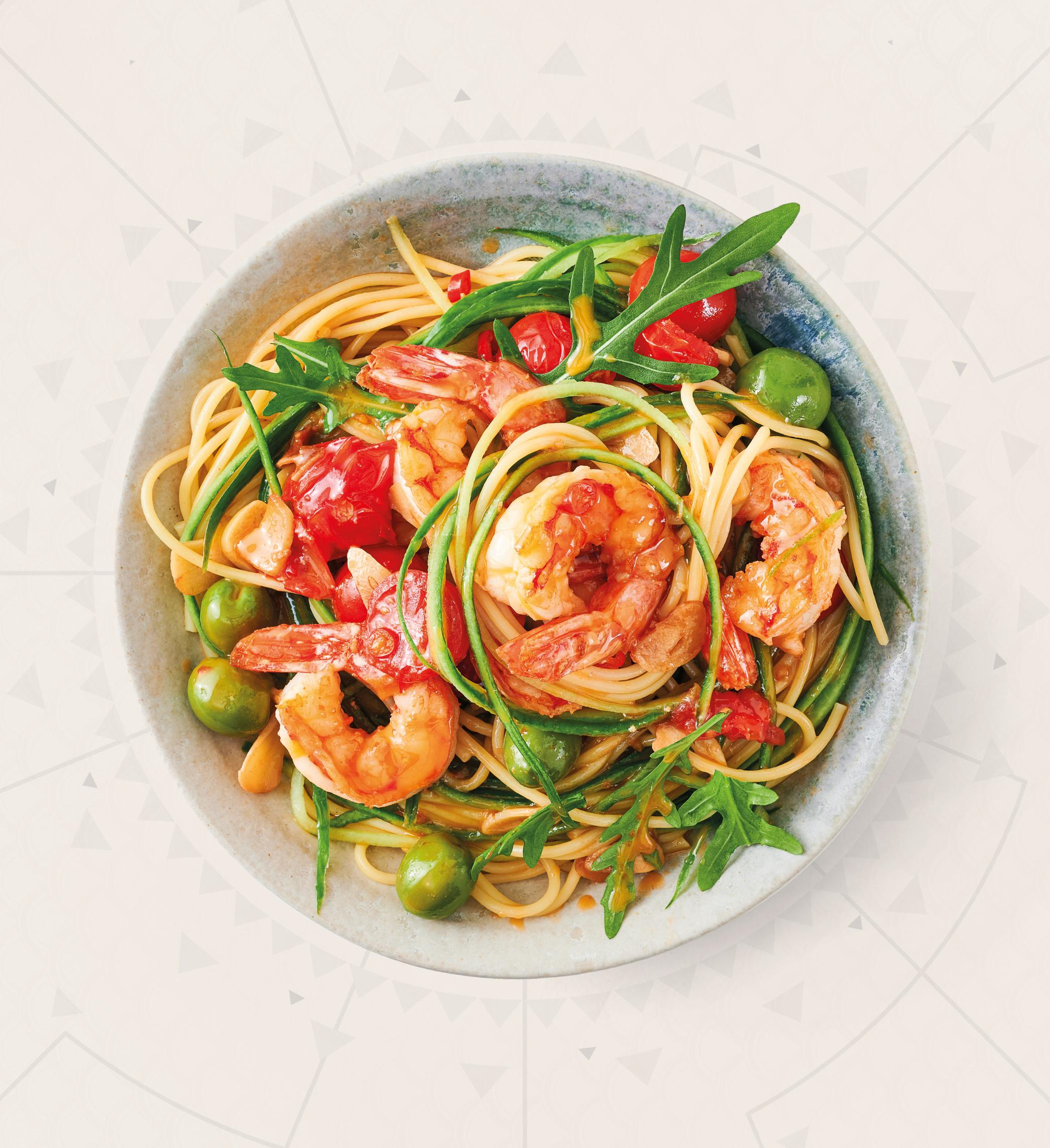 Rotgarnele Aglio e Olio mit Gurken Spaghetti   Garnele ...