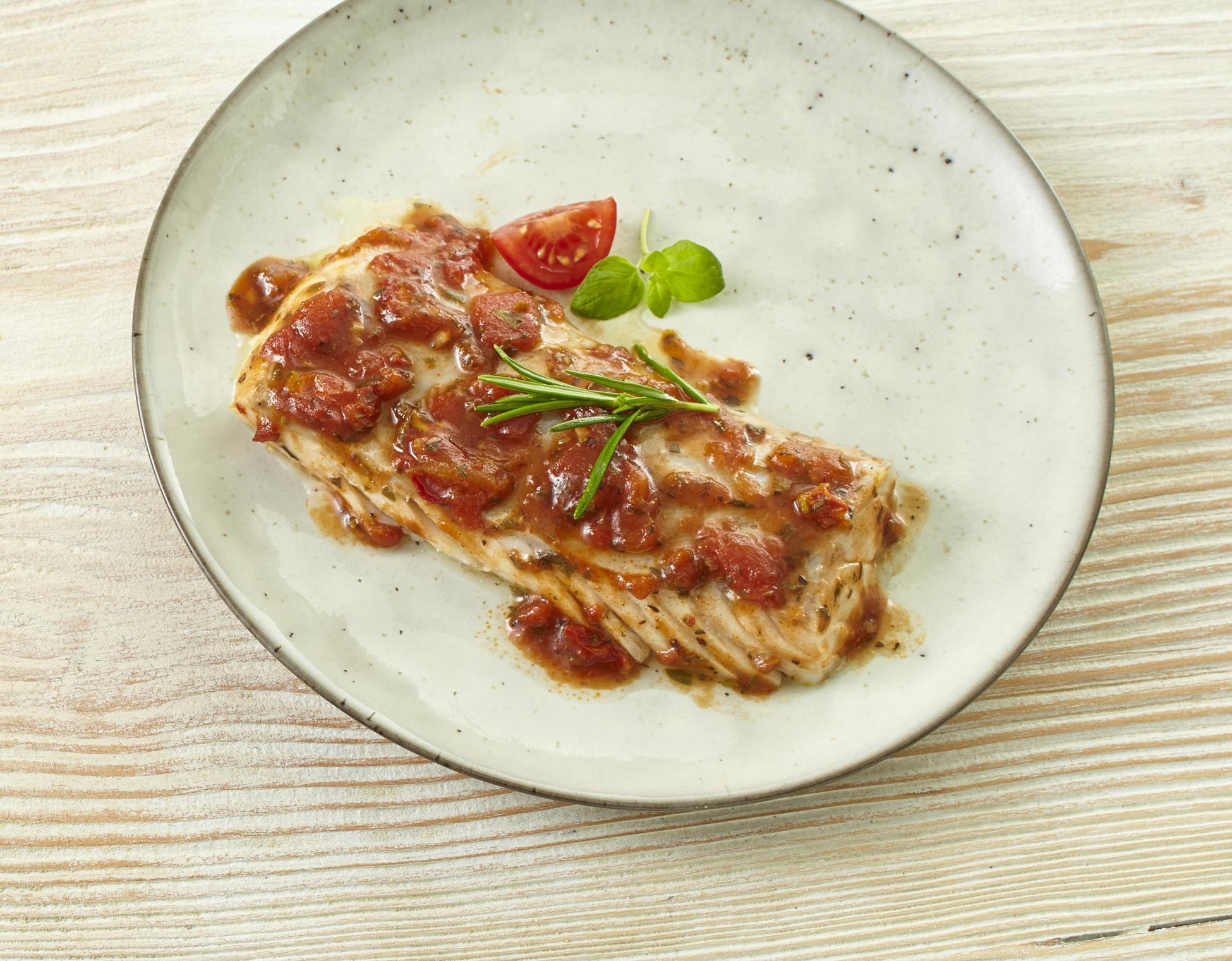 Seelachsfilet Tomate-Mediterran