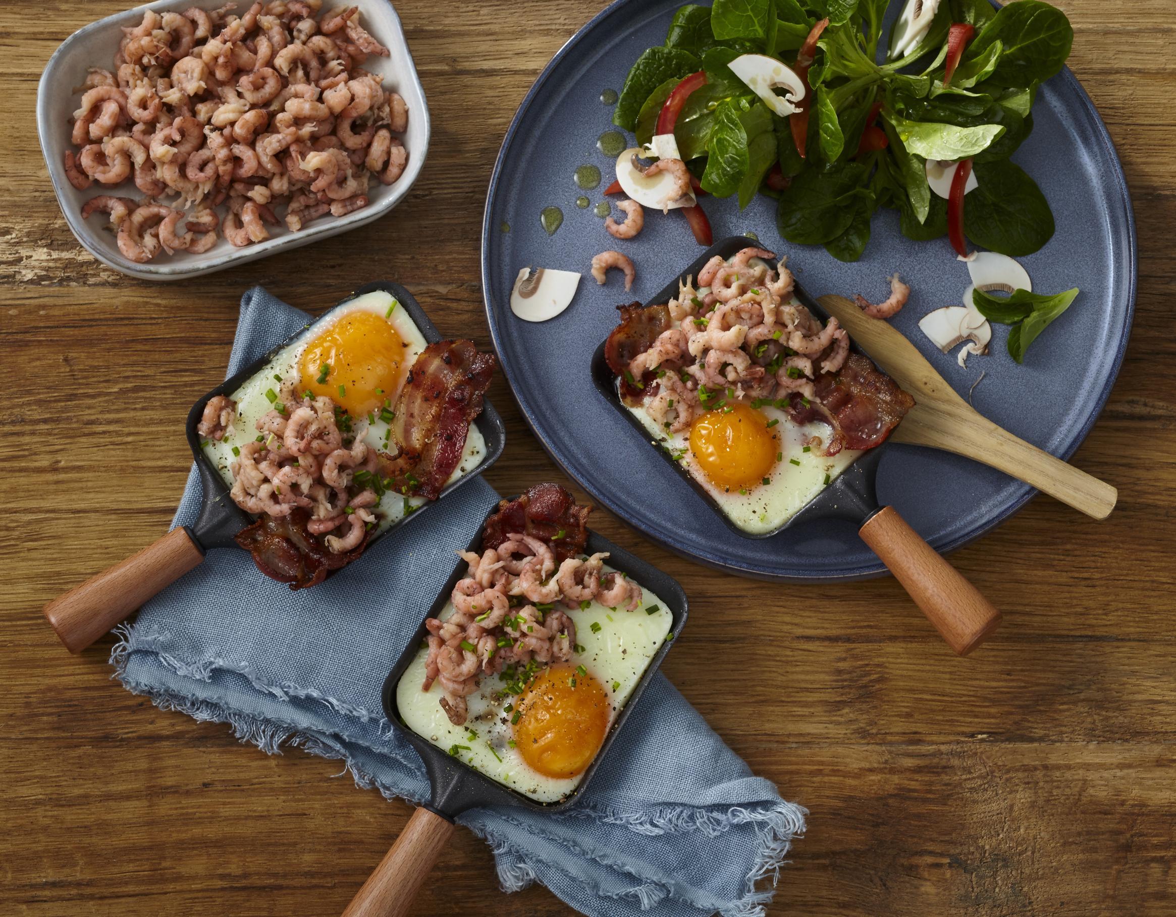 Spiegelei mit Krabben & Speck aus dem Raclette