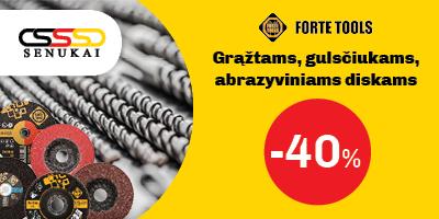 FORTE TOOLS grąžtams, gulsčiukams bei abrazyviniams diskams -40% Pasiūlymas galioja liepos 22–28 d., pateikus nuolaidos brūkšninį kodą kasoje. Akcijos prekių kiekis ribotas. Nuolaidos nesumuojamos.