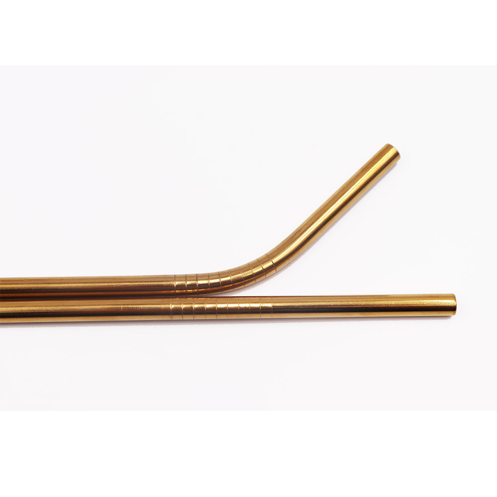 Stahl Strohhalm Gold