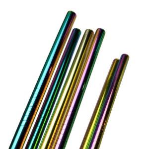 Trinkhalm aus Metall extralang Regenbogenfarben Partyset