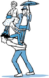 Worker carrying people