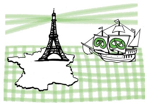 Frankreich Eiffelturm Schiff Brezel