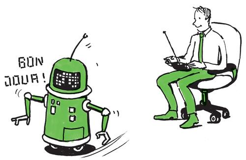 Mann steuert französisch sprechenden Roboter
