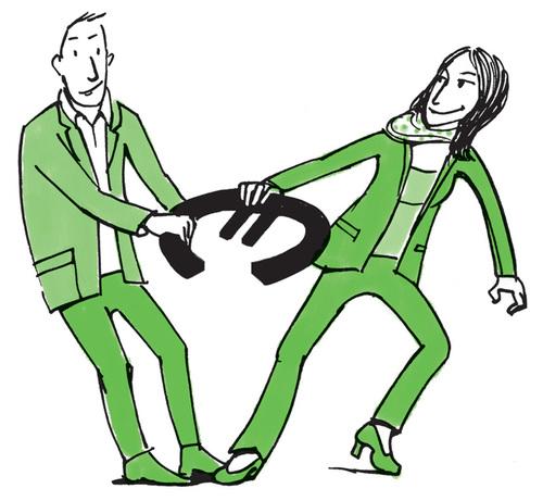 Mann und Frau zerren an Euro
