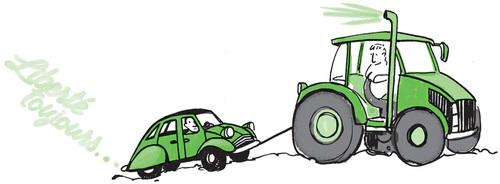 Traktor zieht Ente
