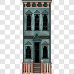 Village Townhouse Peach and Teal