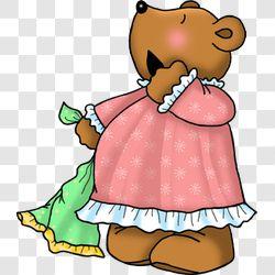 Bear Bedtime Baby Girl Yawns