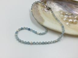 Collier Aquamarinwürfel mit 925er Silberteilchen - Unikat