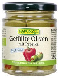 Oliven grün, gefüllt mit Paprika