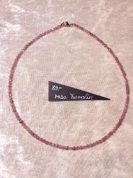 Kette rosa Turmalin, Button facettiert, 4mm groß