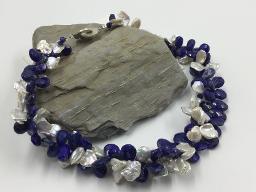 Statementkette aus Lapis Lazuli und Keshiperlen - Unikat