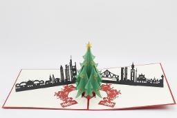Tannenbaum mit Skyline Frankfurt