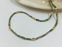 Collier Turmalinwalzen grün - Einzelstück