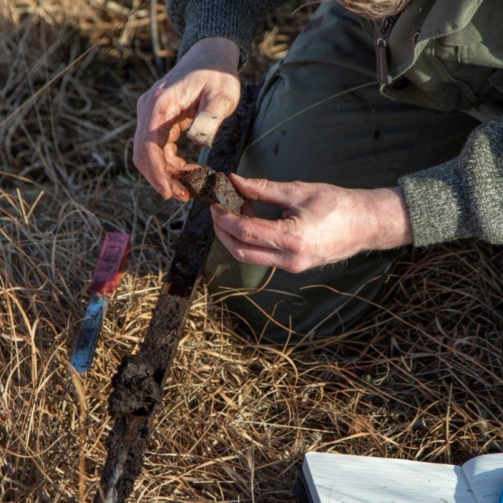 19999 Grondmonsters nemen in hoogveengebied zoeken diepte naar leemlaag