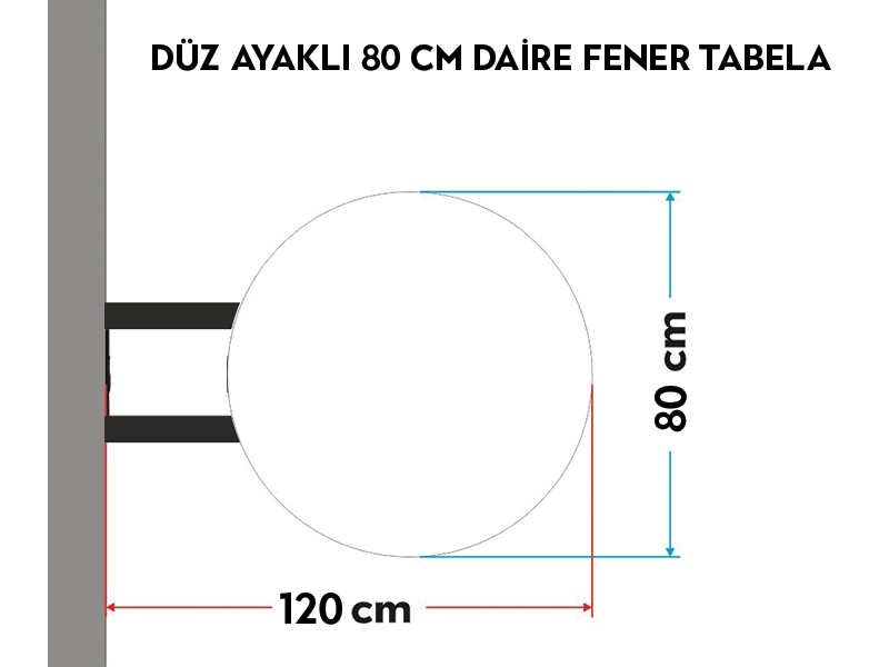 DÜZ AYAKLI 80cm DAİRE FENER TABELA