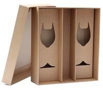 Darkova krabice na vino a sklenice hneda