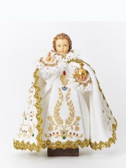 Infant Jesus of Prague Dressed Wooden Statue 23cm/9.06in - White