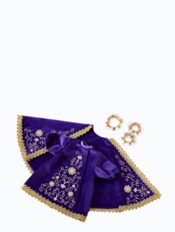 Šaty 30cm / 11.81in (na dřevěnou sošku Pražského Jezulátka 42cm/16.5in) – fialové