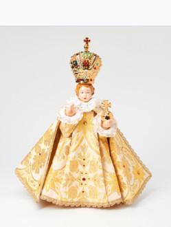 Pražské Jezulátko porcelánové oblečené 34,5cm / 13.58in - zlaté