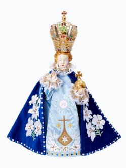 Pražské Jezulátko porcelánové 57cm / 22.44in - modré - vzor Karmel