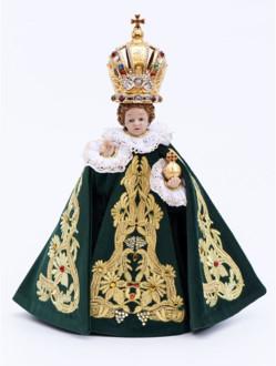 Pražské Jezulátko pryskyřicové oblečené – zmenšená Kopie 24cm / 9.45in s keramickou korunou - zelené - vzor Marie Terezie