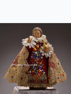 Šaty umělecké 26cm / 10.24in (na dřevěnou sošku Jezulátka 35cm / 13.78in) - kolekce červená