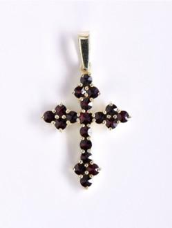 Přívěsek – Křížek Granátový Pozlacený -GOTHIK