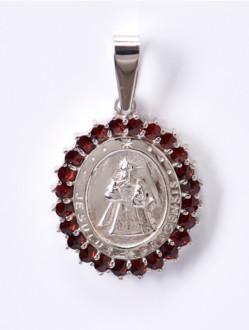 Granátový medailon Jezulátko  - stříbrný ( rhodiovaný )
