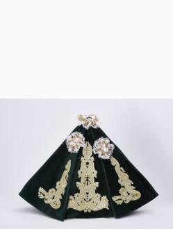 Šaty 40cm / 15.75in (na pryskyřicovou sošku Pražského Jezulátka 48cm / 18.89in) – zelené - vzor Marie Terezie