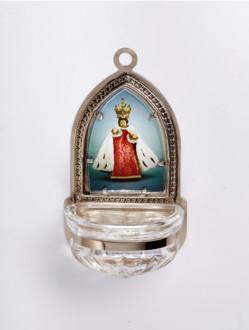 Kropenka kovová s Pražským Jezulátkem - velká č. 8 - stříbrná