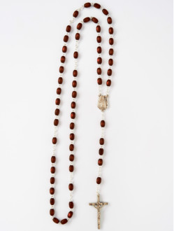 Wood Rosary with Chain – Brown