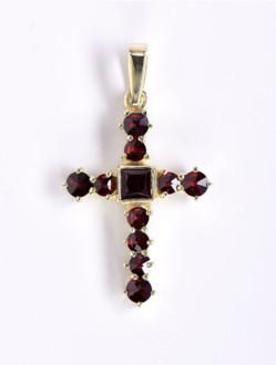 Přívěsek – Křížek Granátový Pozlacený -Velký