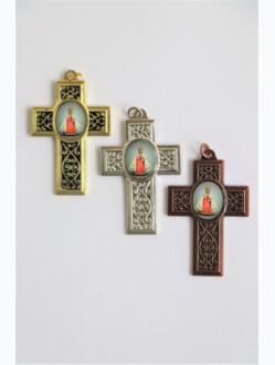 Přívěsek - kovový křížek s obrázkem Pražského Jezulátka