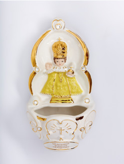 Kropenka keramická s Pražským Jezulátkem - žlutá