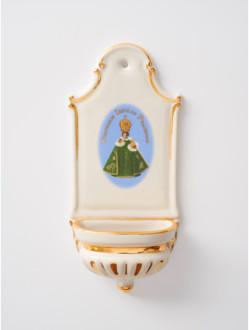 Kropenka porcelánová s Pražským Jezulátkem - malá - zelená