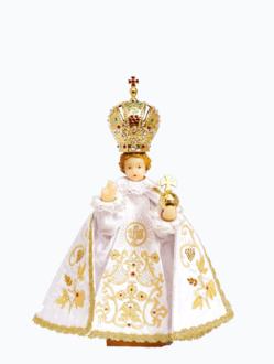 Pražské Jezulátko pryskyřicové oblečené 37,5cm/14.76in - bílé