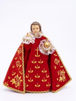 Pražské Jezulátko dřevěné oblečené 52cm/20.47in - červené - vzor Růže