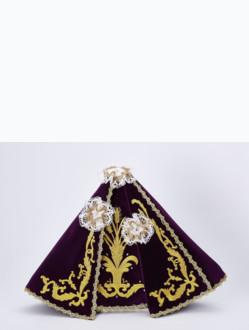 Šaty 35cm / 13.78in (na dřevěnou sošku Pražského Jezulátka 42cm / 16.5in) – fialové - vzor Klasy