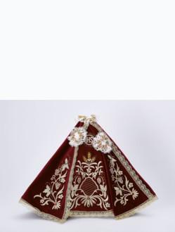 Šaty 35cm / 13.78in (na dřevěnou sošku Pražského Jezulátka 42cm / 16.5in) – vínové