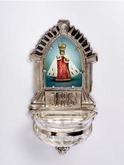 Kropenka kovová s Pražským Jezulátkem - velká č. 10 - stříbrná