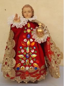 Šaty umělecké 26cm / 10.24in (na dřevěnou sošku Pražského Jezulátka 35cm / 13.78in) - kolekce červená