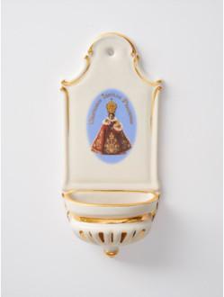 Kropenka porcelánová s Pražským Jezulátkem - malá - červená